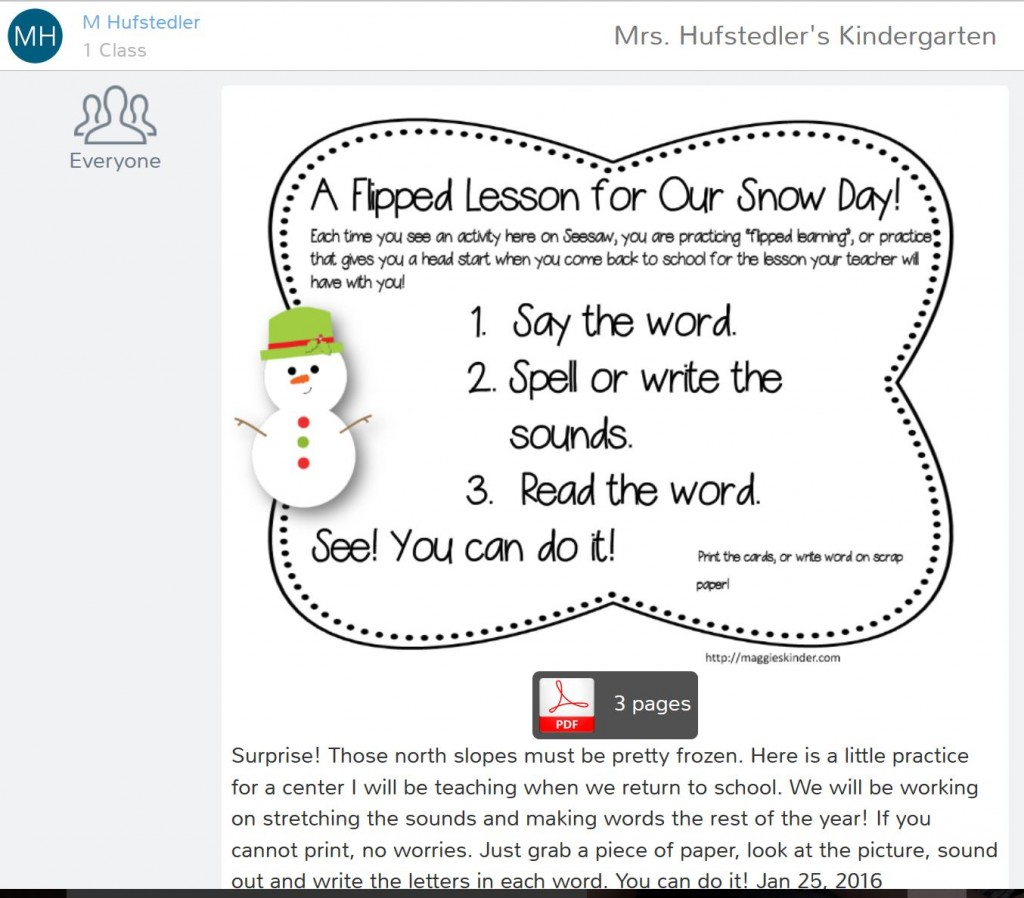 Snow Day Flipped Lessons!