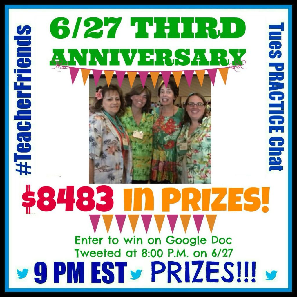 Over $14K in Prizes at #TeacherFriends Chat June 27